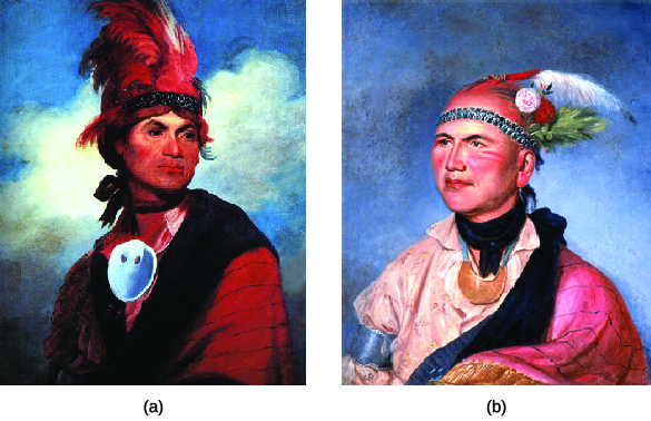 A portrait of Joseph Brant (a) made in 1786 is shown beside a portrait of Brant made in 1797 (b). In both, Brant wears a cloak or blanket over a collared shirt, a large piece of jewelry around his neck, and a feathered headdress.