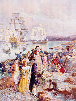 A painting shows well-dressed male and female Anglo-American colonists arriving on shore in New Brunswick, Canada. Several large ships are in the harbor in the background, and longboats with more immigrants are heading to the land. Well-dressed men seem to be welcoming the Loyalists.