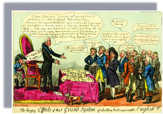 "A cartoon, titled ""The happy Effects of the Grand Systom [sic] of shutting Ports against the English!!,"" shows Thomas Jefferson addressing four men. Eight others stand behind them. In front of Jefferson, a table is covered with papers reading, ""Pettition New York,"" ""Pettition Maryland,"" and more. With arms extended, Jefferson says, ""Citizens — I am sorry I cannot call you my Lords and Gentlemen!! — This is a Grand Philosophical Idea — shutting our Ports against the English — if we continue the Experiment for about fifteen or twenty years, we may begin then to feel the good 'Effects' — in the mean time to prevent our sailors from being idle. I would advise you to imploy them in various works of husbandry etc by that means we may gain the protection of that great and mighty Emperor and King Napoleon!!"" Napoleon, who hides behind Jefferson's chair, says, ""You shall be King hereafter."" A small dog, whose collar reads, ""John Bull,"" says, ""Bow Wow."" The men say, ""How are we to Dispose of our produce""; ""My warehouses are full""; ""Yea friend thou may as well tell us to cut of our nose to be revenged of our face""; ""My famely [sic] is Starving""; ""My Goods are Spoiling""; ""It was not the case in Great Washintons [sic] time""; ""We must speak to him in more forceble [sic] language."""
