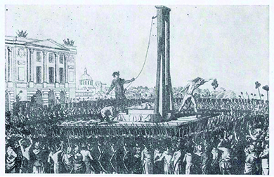 A drawing depicts the beheading of Louis XVI during the French Revolution. A large crowd surrounds a scaffold on which a guillotine is mounted. Louis XVI's headless body lies on the platform. An executioner holds his head up to the crowd.