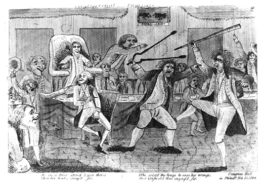 """A cartoon, titled """"Congressional Pugilists,"""" shows Matthew Lyon, a Democratic-Republican representative from Vermont, fighting his opponent, Federalist Roger Griswold, in Congress Hall. A group of congressmen watch as Griswold, armed with a cane, kicks Lyon, who is armed with a massive pair of fireplace tongs and grabs Griswold's arm. Below the scene are the words: """"He in a trice struck Lyon thrice / Upon his head, enrag'd sir, / Who seiz'd the tongs to ease his wrongs, / And Griswold thus engag'd, sir."""""""