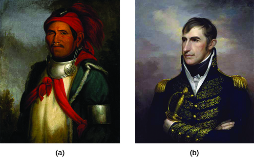 Painting (a) is a portrait of Tenskwatawa, who wears metal earrings and collar and a red cloth hat with feathers. His right eye is missing. Painting (b) is a portrait of William Henry Harrison, who wears an elaborate military uniform.