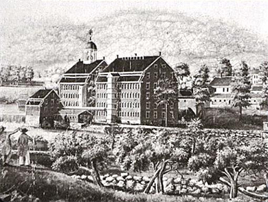 An engraving depicts the Boston Manufacturing Company buildings and the river and greenery alongside them.