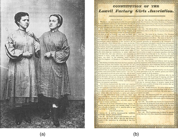 "Tintype photograph (a) shows two young women wearing work smocks standing side by side. Image (b) is a document titled ""Constitution of the Lowell Factory Girls Association."""