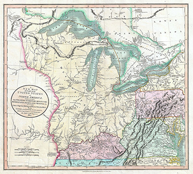 An 1808 map shows what was then the western territory of the United States, lying between the Appalachian Mountains and the Mississippi River.
