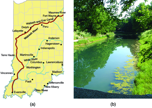 Map (a) shows the route taken by the Wabash and Erie Canal through the state of Indiana. Photograph (b) shows a portion of the Erie Canal in 2007.