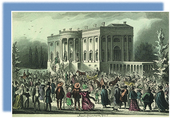 An illustration depicts Andrew Jackson's inauguration in 1829, with crowds surging into the White House to join the celebrations.