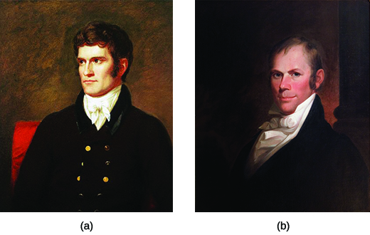 Two portraits depict John C. Calhoun (a) and Henry Clay (b).