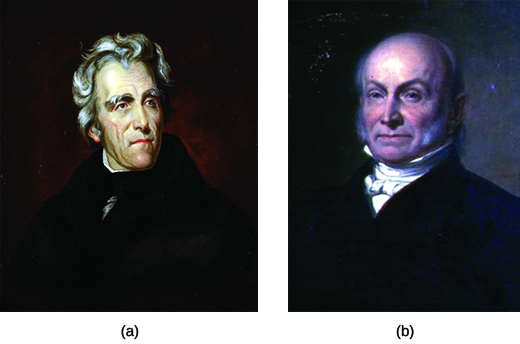 Two portraits depict Andrew Jackson (a) and John Quincy Adams (b).