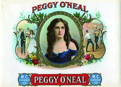 "A cigar-box lid shows a portrait of Peggy O'Neal at the center; she is shown as a young and attractive woman in a low-cut dress. On the left, Andrew Jackson presents O'Neal with flowers. On the right, two men fight a duel for her. Labels reading ""Peggy O'Neal"" appear on the top and bottom."