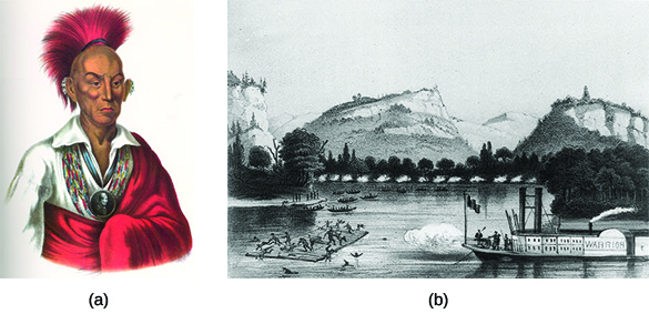 """Portrait (a) depicts Sauk chief Black Hawk. Engraving (b) shows U.S. soldiers on a steamer labeled with the name """"Warrior"""" firing on Indians aboard a raft on a river."""