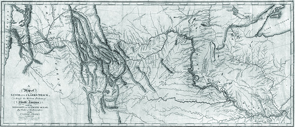 A historical map shows Lewis and Clark's path across North America from the Missouri River to the Pacific Ocean, including detours up river tributaries.