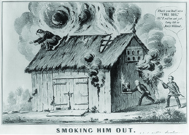"A cartoon depicts Martin Van Buren and his son John setting fire to a barn, from which smoke billows. Lewis Cass crouches on the roof, preparing to leap. John exclaims ""That's you Dad! more 'Free Soil.' We'll rat 'em out yet. Long life to Davy Wilmot."""
