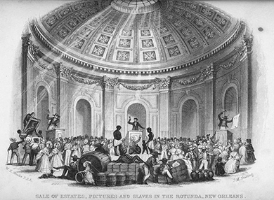 An illustration depicts the auction of slaves and material goods beneath a large, ornate rotunda. On the center auction block, an auctioneer calls for bids on a slave man, woman, and child. On auction blocks to either side, auctioneers sell off large paintings and other goods. Well-dressed people crowd the room and haggle over the items for sale.