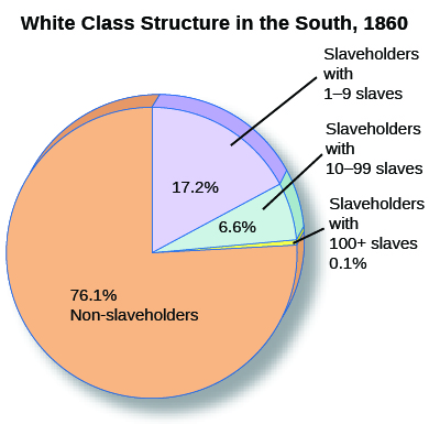 "A pie chart entitled ""White Class Structure in the South, 1860"" shows percentages of non-slaveholders (76.1%), slaveholders with 1 to 9 slaves (17.2%), slaveholders with 10 to 99 slaves (6.6%), and slaveholders with more than 100 slaves (0.1%)."