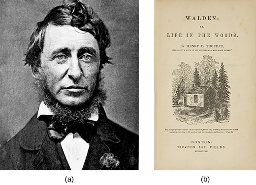 Photograph (a) is a portrait of Henry David Thoreau. Image (b) shows the cover of Thoreau's Walden; or, Life in the Woods.