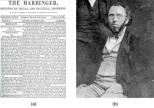 Image (a) shows the front page of The Harbinger. Photograph (b) is a portrait of George Ripley.