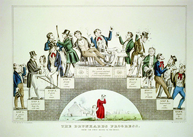 "An illustration, The Drunkards Progress. From the First Glass to the Grave, shows a staircase that rises on one side and descends on the other. A scene of a drinking man is depicted on each step, with text describing his progressive downfall through drink: Step 1. A glass with a friend. Step 2. A glass to keep the cold out. Step 3. A glass too much. Step 4. Drunk and riotous. Step 5. The summit attained. Jolly companions. A confirmed drunkard. Step 6. Poverty and disease. Step 7. Forsaken by Friends. Step 8. Desperation and crime. Step 9. Death by suicide."" At the bottom is an illustration of a woman with her face in her hand, leading her child from their home."