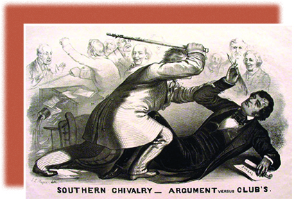 "An illustration shows Preston Brooks attacking Charles Sumner with a cane while several men look on in the background. The caption reads ""Southern Chivalry—Argument versus Club's."""