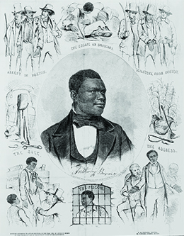 An illustration shows a portrait of Anthony Burns surrounded by scenes from his life, including his escape from Virginia, his arrest in Boston, and his address to the court.