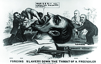 """A political cartoon entitled """"Forcing Slavery Down the Throat of a Free Soiler"""" shows a larger-than-life Free-Soiler lying on his back with his mouth open, tied to a dock labeled """"Democratic Platform,"""" with planks labeled """"Kansas,"""" """"Cuba,"""" and """"Central America."""" Stephen Douglas and Franklin Pierce stand on the Free-Soiler's chest and push a black man down his throat; the black man says """"MURDER!!! Help - neighbors help. O my poor Wife and Children."""" James Buchanan and Lewis Cass, who stand on the platform, each grasp a lock of the Free-Soiler's hair to hold him down. In one corner of the image, a home burns down as a woman and child flee; in the other, a lynched man hangs from a tree."""
