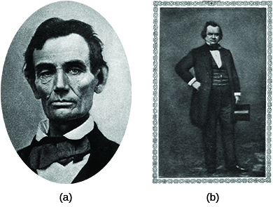 Photograph (a) is a portrait of Abraham Lincoln. Photograph (b) is a portrait of Stephen Douglas.