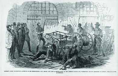"An illustration shows John Brown and others with rifles and pikes, holding a small group of men hostage inside the engine house of Harpers Ferry Armory. Several other men lie injured on the ground. The caption reads ""Harper's Ferry insurrection—Interior of the Engine-House, just before the gate is broken down by the storming party—Col. Washington and his associates as captives, held by Brown as hostages."""