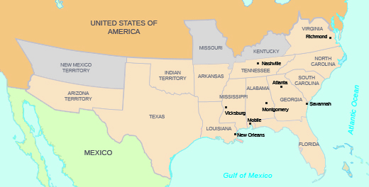 A map shows the Confederate states and regions, including Arizona territory; Texas; Indian territory; Arkansas; Louisiana (with New Orleans labeled); Tennessee (with Nashville labeled); Mississippi (with Vicksburg labeled); Alabama (with Montgomery and Mobile labeled); Georgia (with Atlanta and Savannah labeled); Florida; Virginia (with Richmond labeled); North Carolina; and South Carolina.
