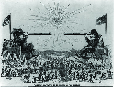 "A cartoon, entitled, ""'Masterly Inactivity' or Six Months on the Potomac,"" depicts a larger-than-life George B. McClellan and P. G. T Beauregard, reclining on massive chairs with the Potomac River between them, looking at one another through long telescopes. Meanwhile, beneath them, their troops engage in social visits, sports, and other leisure-time activities, including happily and fruitlessly tossing rocks at their enemies across the river."