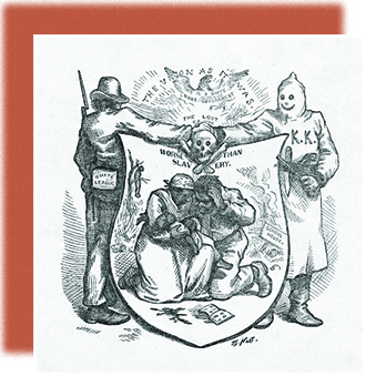"An illustration shows a man labeled ""White League"" shaking hands with a hooded figure labeled ""KKK."" Their hands meet over a skull and crossbones. Below, a shield shows a black couple weeping over a baby. In the background, a schoolhouse burns, and a lynched freedman is shown hanging from a tree. Above the shield, which is labeled ""Worse than Slavery,"" the text reads, ""The Union as it Was: This is a White Man's Government."""