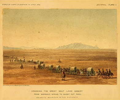 "A drawing shows a long line of covered wagons crossing the desert, with several men mounted on horses riding on each side. The text reads, ""Crossing the Great Salt Lake Desert. From Simpson's Spring to Short Cut Pass, Granite Mountains in the Distance."""