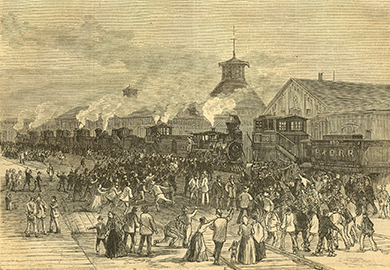 An engraving shows railroad workers and their families blocking train engines.