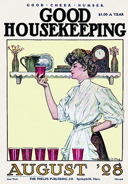 The August 1908 cover of Good Housekeeping shows an illustration of a well-dressed housewife inspecting one of a series of drinking glasses. Behind her is a shelf with vases of flowers, several books, a clock, and a pitcher and tray.