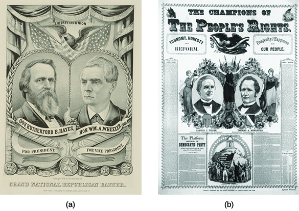 "Two campaign posters are shown. Poster (a) contains illustrations of Rutherford B. Hayes and William A. Wheeler, labeled ""Gov. Rutherford B. Hayes/For President"" and ""Hon. W.M.A. Wheeler/For Vice President."" Above them, an eagle bears a flag and the label ""Liberty and Union."" Poster (b) is headed ""The Champions of the People's Rights. Economy, Honesty, and Reform. Prosperity & Happiness for Our People."" Below, two illustrations are labeled ""Samuel J. Tilden/Democratic Candidate for President"" and ""Thomas A. Hendricks/Democratic Candidate for Vice-President."" The candidates' portraits are surrounded by illustrations of three gowned women, the third bearing an American flag, and lush greenery."