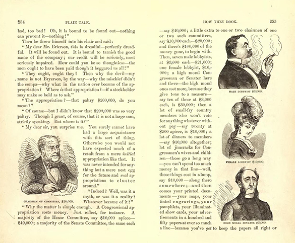 Pages from Mark Twain&#x2019;s The Gilded Age contain illustrations of a legislative committee chairman and three types of lobbyists. A legislator is labeled &#x201c;Chairman of Committee <img src=