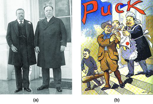 "Photograph (a) shows Theodore Roosevelt standing beside William Howard Taft. Cartoon (b) shows ""cowboy"" Roosevelt handing off a baby—labeled ""My Policies""—to Taft, who is dressed as a nursemaid."