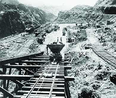 A photograph shows the excavation of the Culebra Cut in the construction of the Panama Canal.