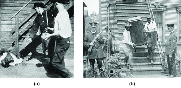 Photograph (a) shows a black man lying on the ground as two white men, one of whom can be seen wielding a large rock, stand above him. Photograph (b) shows members of a black family carrying possessions out of their vandalized home, guarded by police officers.