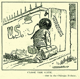 "A cartoon entitled ""Close the Gate"" shows a person, whose head is a bomb, walking through a gate labeled ""U.S."" The open door to the gate is labeled ""Immigration Restrictions."" The person carries a suitcase and blanket roll, the latter of which is labeled ""Undesirable."""