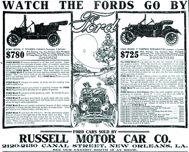 """An advertisement entitled """"Watch the Fords Go By"""" features drawings of two Ford automobiles. The prices are listed at $780 and $725, along with details about each model. In the center of the advertisement, an illustration shows a couple driving along an idyllic country road. At the bottom is the text """"Ford Cars Sold by Russell Motor Car Co. 2120-2130 Canal Street, New Orleans, LA. See Our Exhibit Booth at Show."""""""