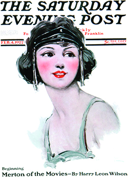 "A cover of The Saturday Evening Post, from February 4, 1922, features an illustration of a young woman's head and shoulders. Her hair is cut short in a bob, and she wears an elaborate headpiece. Beneath her, the text reads ""Beginning Merton of the Movies—By Harry Leon Wilson."""