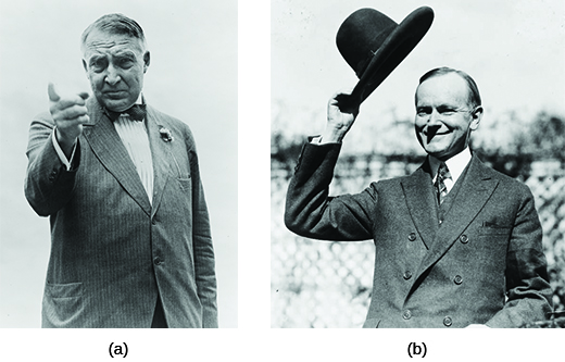 Photograph (a) shows Warren Harding pointing his finger with a stern expression on his face. Photograph (b) shows Calvin Coolidge smiling and holding his hat above his head.