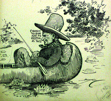 "A cartoon shows a man in a hat and neckerchief reclining against a pillow in a small boat, holding a fishing rod. Beside the man's face are the words ""Choosin' to run isn't as restful as this."""