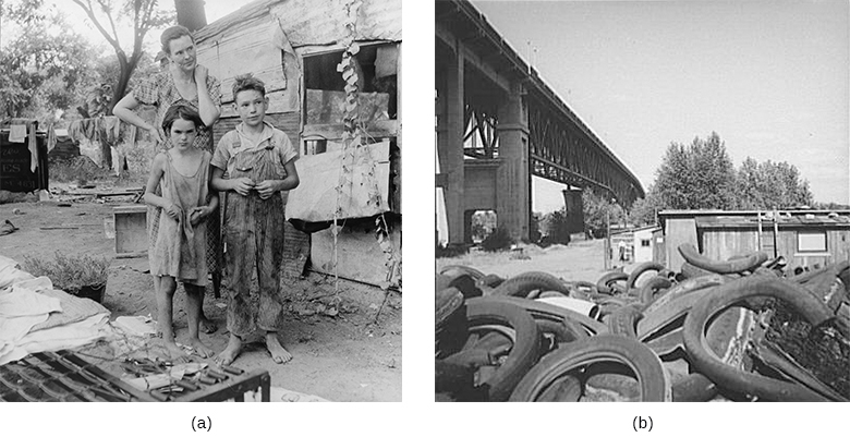Photograph (a) shows a mother and her son and daughter standing before a shanty on a bare patch of land. Photograph (b) shows a pile of tires in front of a shanty next to a railroad bridge.