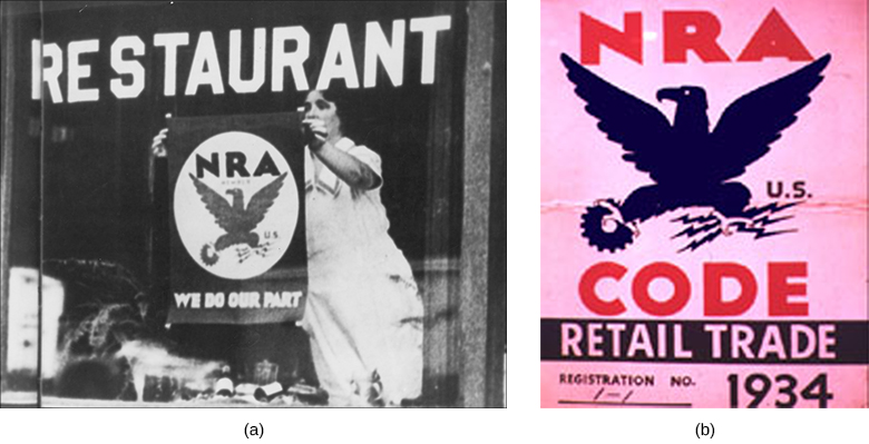 "Photograph (a) shows a restaurant proprietor hanging a poster in the window with a depiction of the Blue Eagle and the words ""NRA. We do our part."" Photograph (b) shows the Blue Eagle up close: His talons grip a machine gear on the left and three lightning bolts on the right."