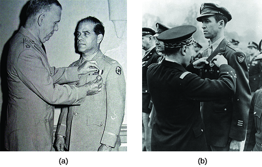 Photograph (a) shows General George Marshall pinning the Distinguished Service Cross on Frank Capra's jacket. Photograph (b) shows a member of the French Air Force awarding Jimmy Stewart the French Croix de Guerre.