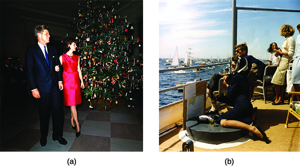 Photograph (a) shows a youthful John F. Kennedy and Jacqueline Kennedy standing beside a large Christmas tree. Photograph (b) shows John F. Kennedy, Jacqueline Kennedy, and several others sitting on a dock, watching the America's Cup race.