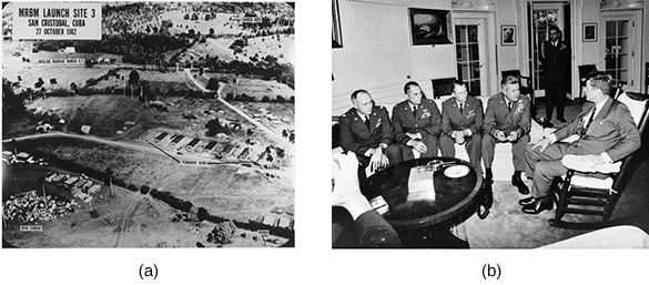 """Photograph (a), labeled """"MRBM Launch Site 3/San Cristobal, Cuba/27 October 1962,"""" shows an aerial view of a Cuban missile site. Photograph (b) shows President Kennedy seated in a chair, meeting with a group of uniformed pilots."""