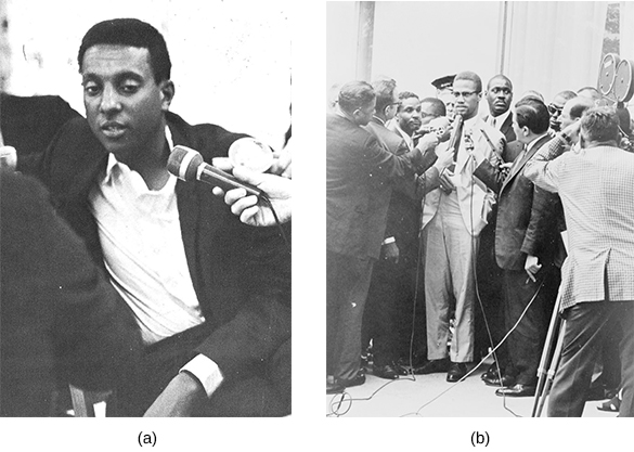 Photograph (a) shows Stokely Carmichael speaking into a microphone. Photograph (b) shows Malcolm X speaking before members of the media, several of whom hold microphones near him.