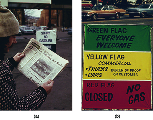 "Photograph (a) shows a man standing beside a gas station reading a newspaper article with the headline ""Gas Rationing Set Monday."" A sign that reads ""Sorry No Gasoline"" is visible in the background. Photograph (b) shows a sign with three stripes of color. The uppermost stripe, which is green, bears the message ""Green Flag/Everyone Welcome."" The middle stripe, which is yellow, bears the message ""Yellow Flag/Commercial/Trucks, Cars/Burden of Proof on Customer."" The bottom stripe, which is red, bears the message ""Red Flag/Closed/No Gas."""